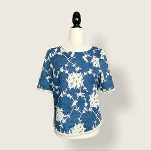 Vero Moda Boxy Cropped Fringe & Floral T-Shirt XS